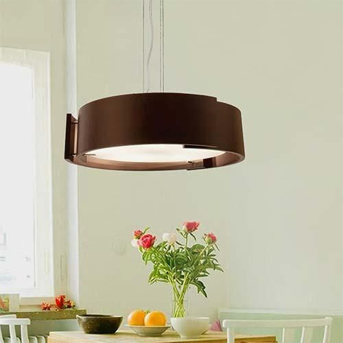 Bright Star Polished Chrome with Wood & Glass Pendant