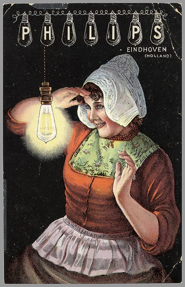 "Advertisment Philips , ""Red het Peertje"" (Save the Light Bulb) showing a girl in folklore clothes from Volendam (The Netherlands)."