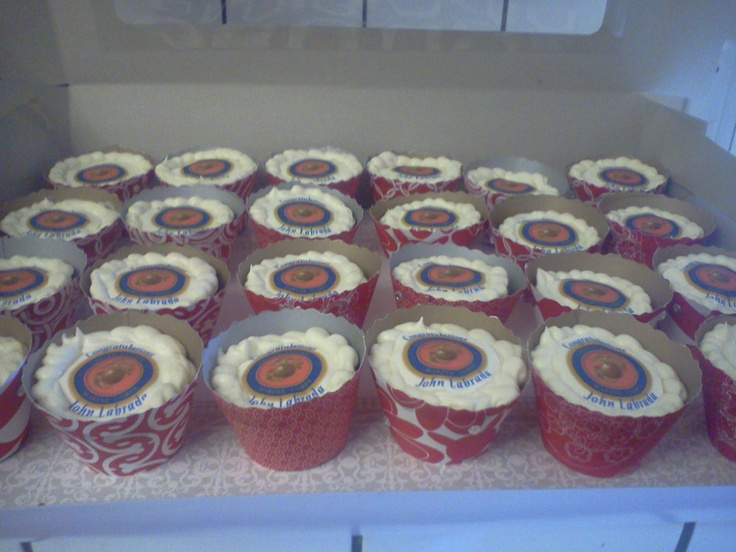 USMC Boot Camp Graduation party.  Rootbeer Float Cupcake. I made the wrappers out of scrapbook paper and a decal. Cheap and easy #justlikeme