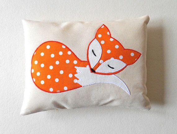 Orange Fox Pillow Decoration, Handmade Applique Fox Cushion on Eco Friendly Natural Cotton, Orange Woodland Nursery, Forest Animal Gift