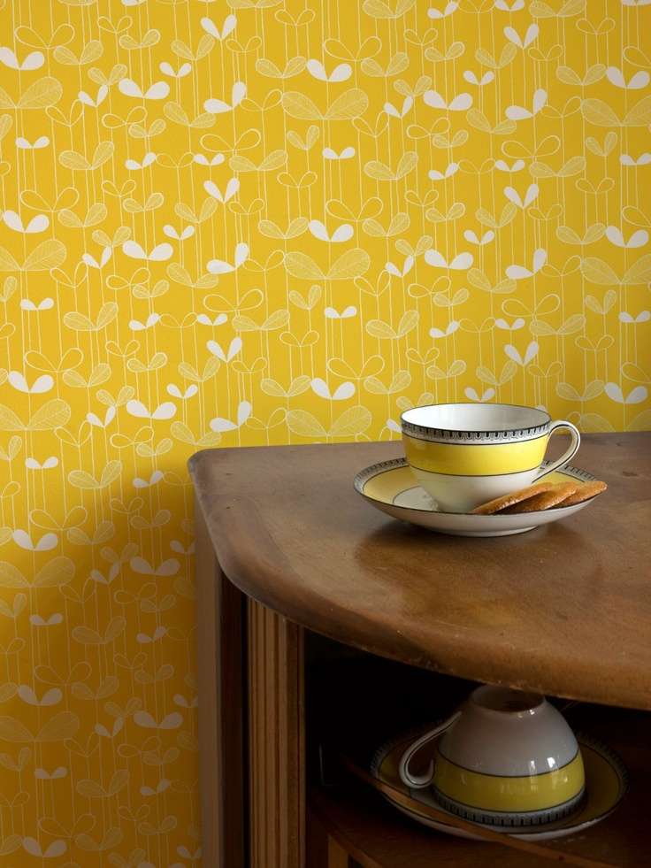 MissPrint Saplings Wallpaper in yellow