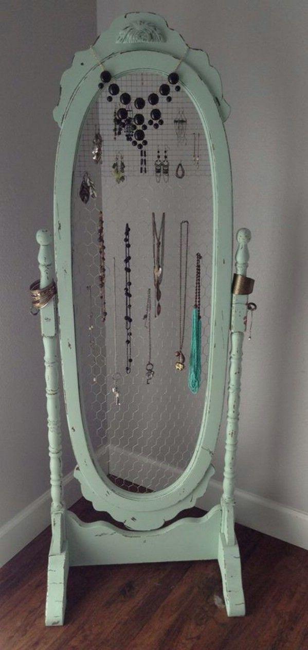 Repurposed Mirror Jewelry Stand