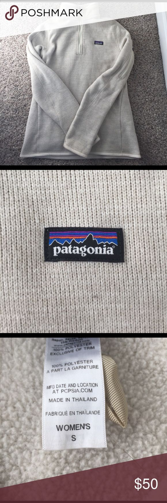 Patagonia Better Sweater Cream colored sweater women's size S. Some light piling on the sleeve shown in the last picture but overall good condition! Patagonia Sweaters