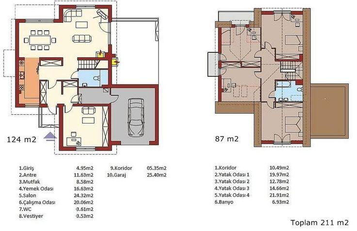 Çitlibahçe Dubleks Prefabrik Ev Modeli Prefabrike konut modelimiz toplam 211 metrekare alana sahiptir. Zemin kat 124 m2 büyüklüğündedir. Zemin katta salon çalışma odası ve yemek odası, üst katta 4 yatak odası mevcuttur. Üst katta bir banyo zemin katta wc vardır. Evin antre ve vestiyer gibi alanları mevcuttur.