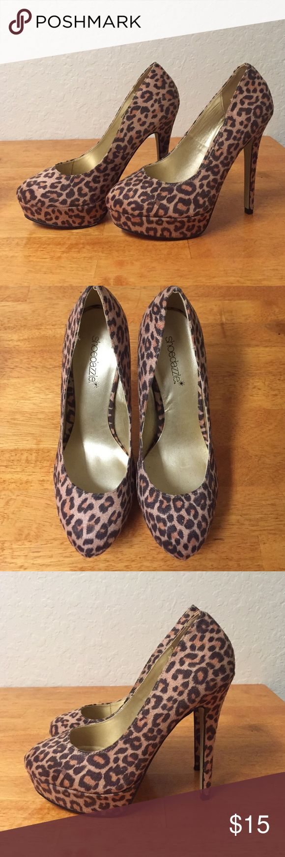 Shoe Dazzle leopard heels Worn once, leopard heels with an inch platform. US 6, UK 4, EU 36 Shoe Dazzle Shoes Heels