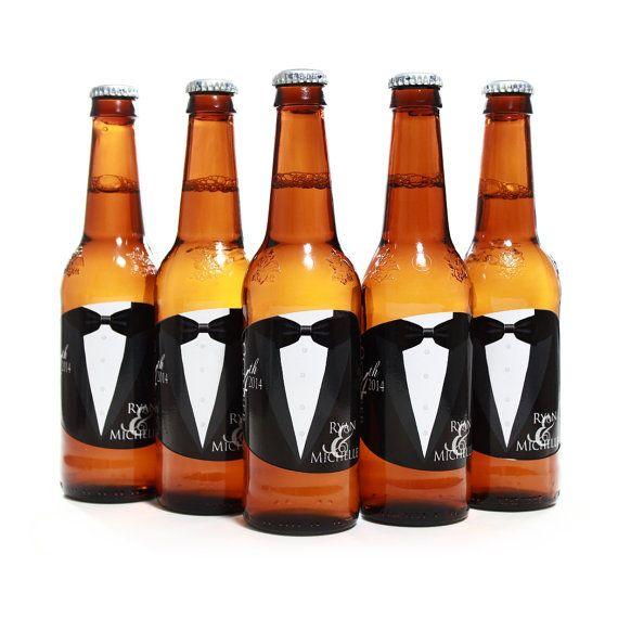 Custom beer bottle labels, Personalized tuxedo labels for Bud Light beer bottles