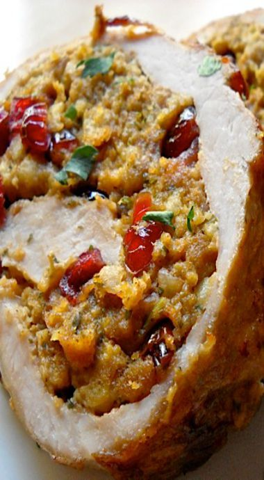 cranberry and walnut stuffed pork loin