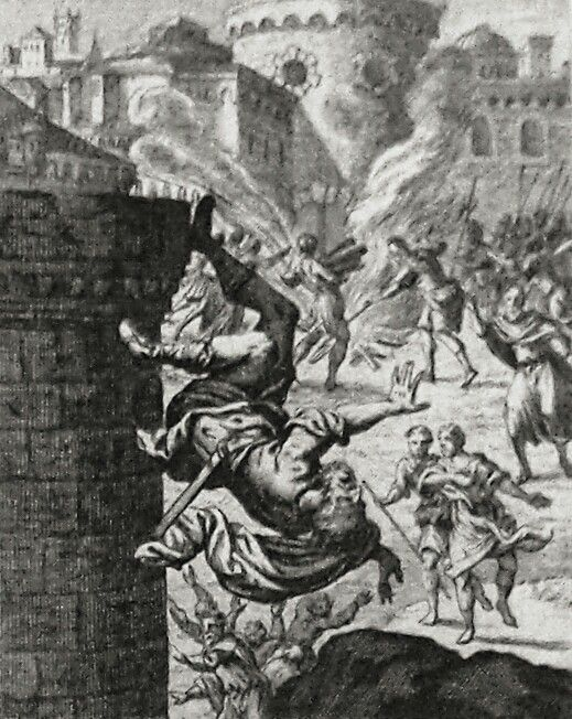 Apocrypha 197. Razis casts himself down from the wall. 2 Maccabees cap 14 v 43. Sandrart. Phillip Medhurst Collection