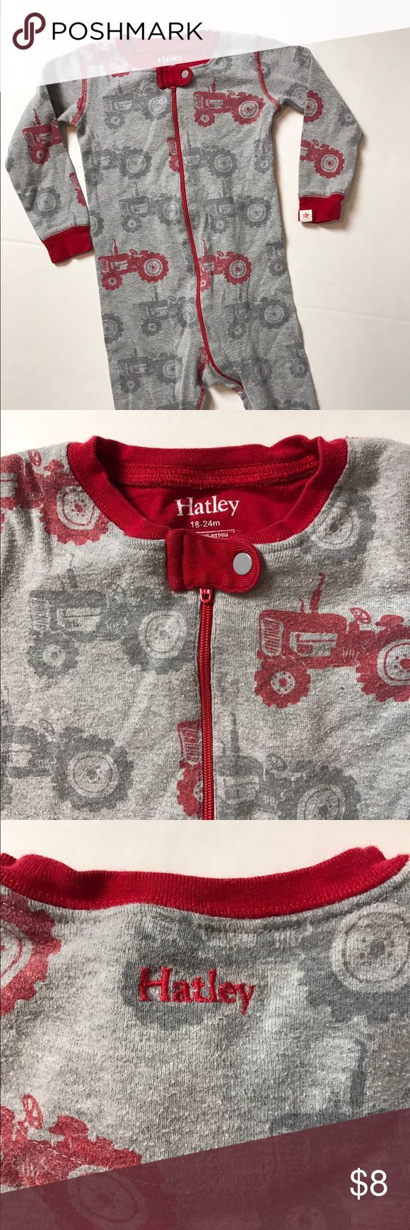 Hatley Union Suit Pajamas Zip-up footless pajamas by Hatley. Grey with red tractor print. GUC -- wash wear. Soft and comfy. Genuine Hatley. Smoke-free home. Hatley Pajamas