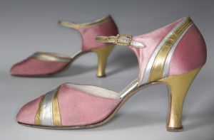 Women's Pink Satin Evening Shoes With Silver and Gold Trim (1927)