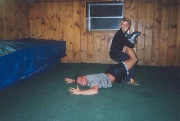 A young Nattie Neidhart (Natalya) squares off against TJ Wilson (Tyson Kidd) in her grandfather Stu Hart's legendary Dungeon.