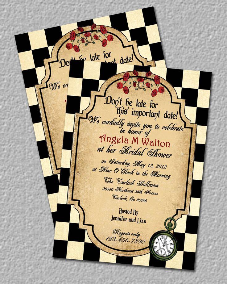 Alice In Wonderland Bridal Shower Invites Download Tea Party