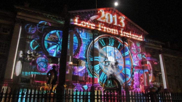 NYE Dublin Festival at College Green on 31st December. Projections on the facade of Trinity College.