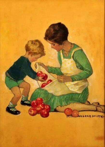 Vintage Illustration. Mother's Helper.