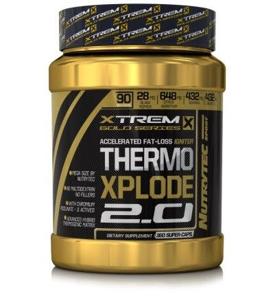 Thermo Xplode 2.0 Xtreme Gold Series de Nutrytec Sport es un completo quemador de grasas que ayuda a perder peso.