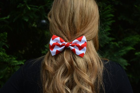 Hair Bow - Red and White Chevron Hair Bow,  bows for hair, girls Hair bows, fabric bows, Hair Bow for teens and women on Etsy, $3.79