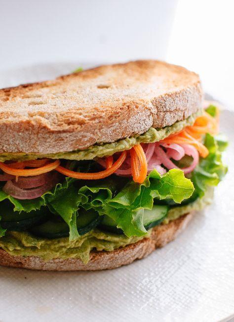 healthy vegan hummus sandwich recipe http://cookieandkate.com