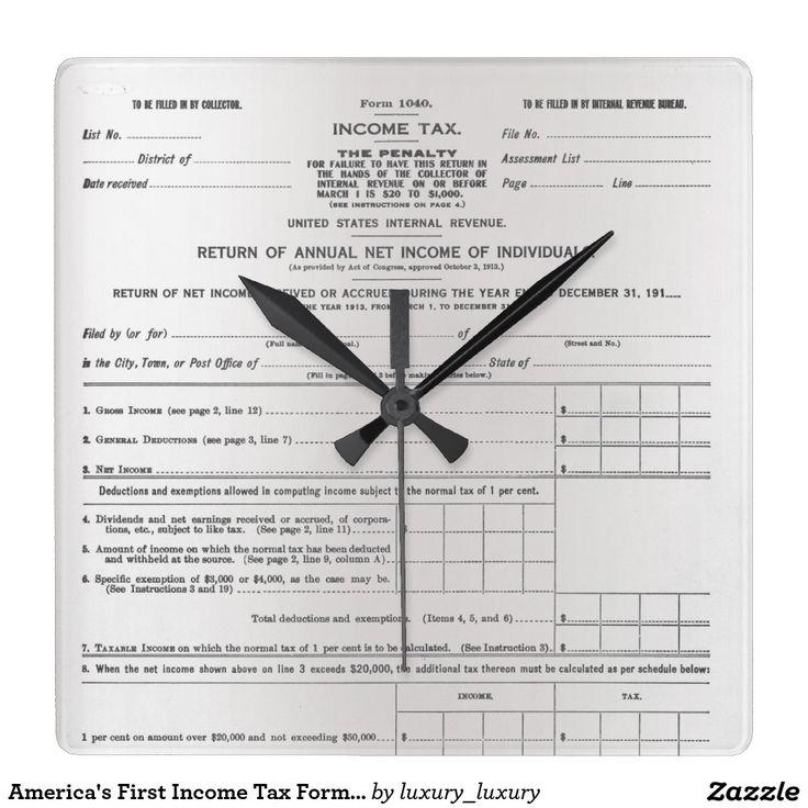 America's First Income Tax Form Silver Gray Black Clocks