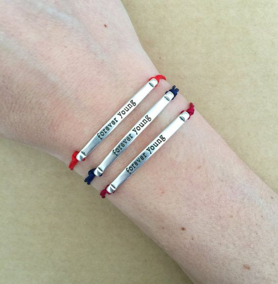 Unisex Silver Plated Forever Young Message Bar by IzouBijoux