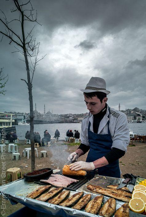 Fish sandwich seller in Karakoy, Istanbul, Turkey