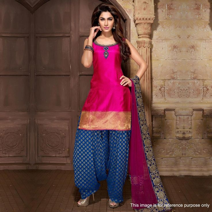 Buy Pink - Blue Embroidered Work Patiala Suit for womens online India, Best Prices, Reviews - Peachmode