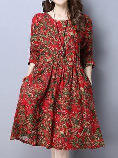 Women Floral Printed High Waist Long Sleeve Vintage Dresses
