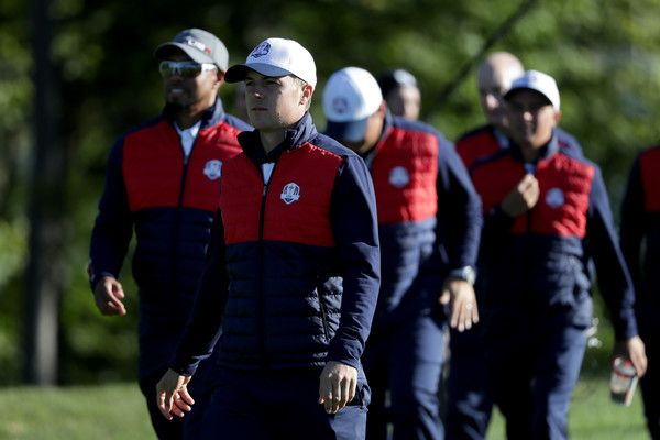 Jordan Spieth Photos Photos - Jordan Spieth of the United States looks on during team photocalls prior to the 2016 Ryder Cup at Hazeltine National Golf Club on September 27, 2016 in Chaska, Minnesota. - 2016 Ryder Cup - Team Photocalls
