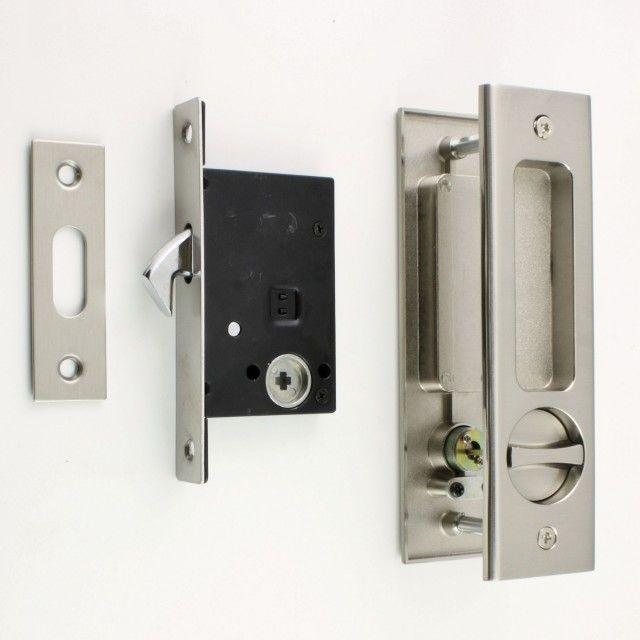 Bathroom Hook Lock Set With Turn And Release Rectangular Flush Pull For Sliding Pocket Doors Satin Nickel Pocket Doors Pocket Doors Bathroom Pocket Door Lock