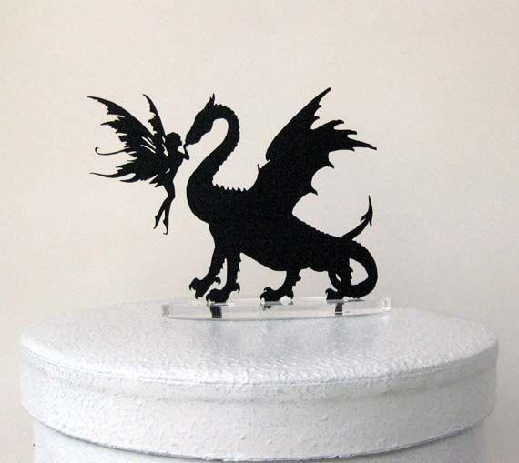 Wedding Cake Topper - Dragon & Fairy Silhouette Cake Topper
