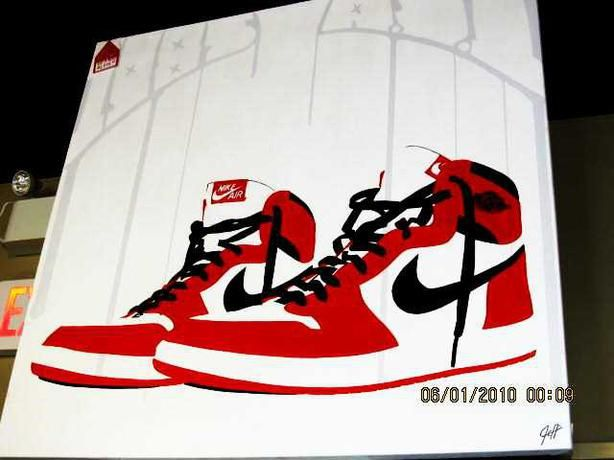 Unique Nike Commission Painting #yyj #shoplocal #nike #sneakers #art