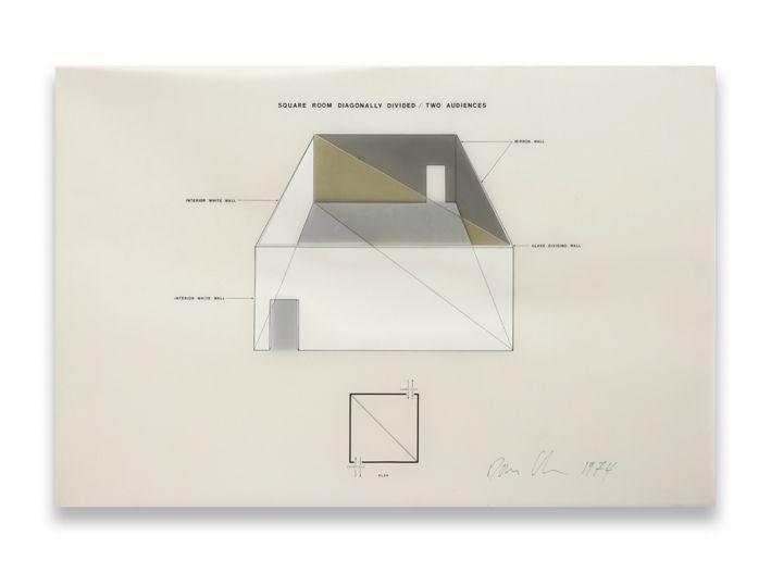 Dan Graham / Square Room Diagonally Divided - Two Audiences, 1974.
