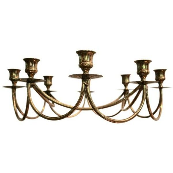 Brass Danish Modern 8-Candle Holder Candelabrum (1.890 DKK) ❤ liked on Polyvore featuring home, home decor, candles & candleholders, candle holders, brass candelabra, brass candle holders, hand candle holder, brass home decor and solid brass candle holders