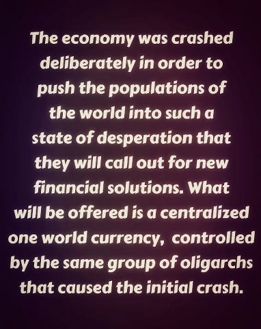 The Economy Was Crashed Deliberately In Order To Push Populations Of World Into Such A State Desperation That They Will Call Out For New