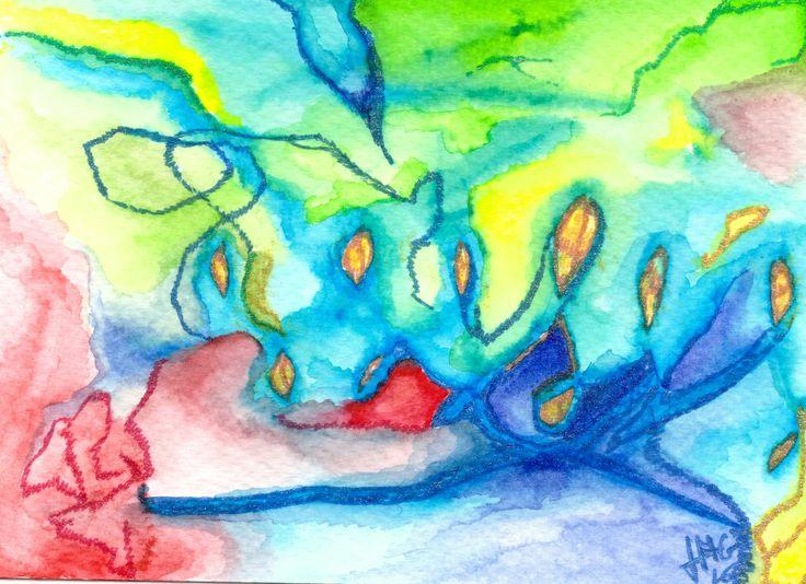 Waterlight 2. Postcard- watercolor, paper