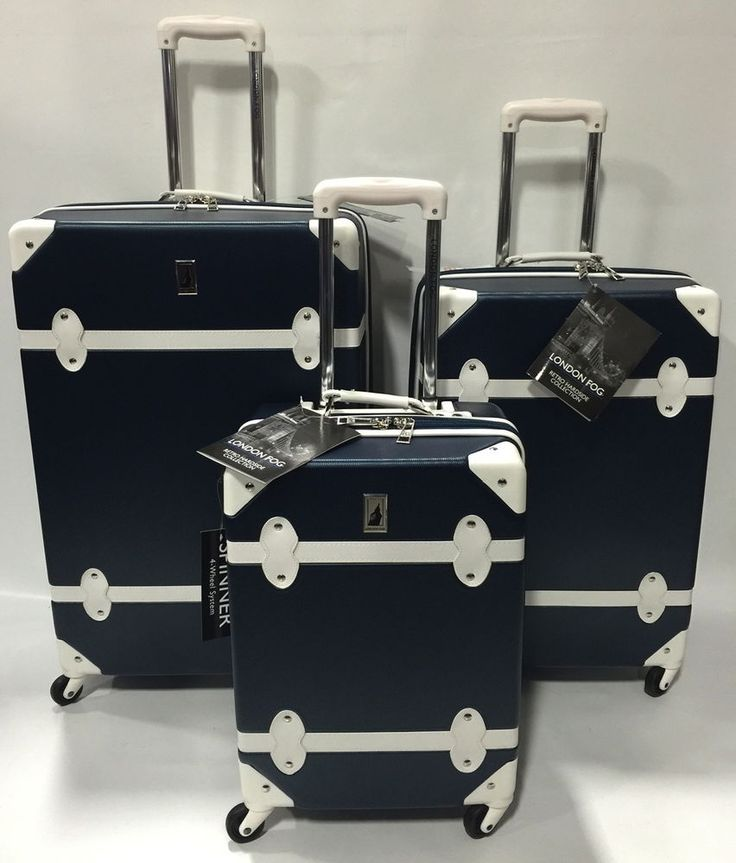 NEW LONDON FOG RETRO EXPANDABLE SPINNER LIGHTWEIGHT LUGGAGE SET HARDSIDE NAVY #LondonFog