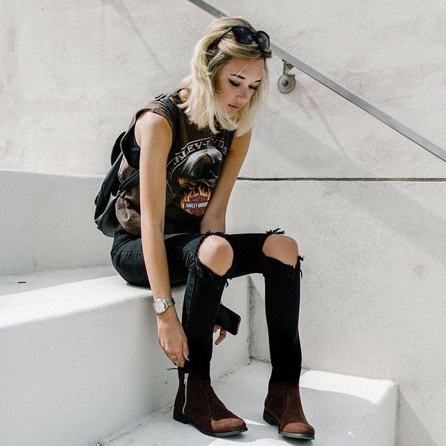 Pin for Later: 25 #OOTDs That Prove Jaden Smith's Girlfriend Sarah Snyder Is a Style Star to Watch A Harley Davidson Muscle Shirt Made Edgy With Distressed Jeans