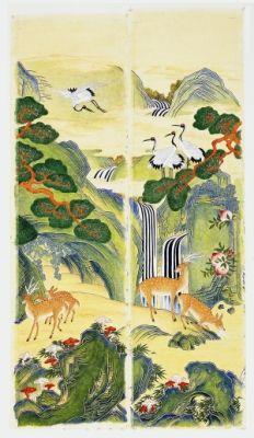 ten longevity symbols painting / Color on korean paper, 2014 / 140 x 33 x 10 cm (55.1 x 13 x 13 inch)