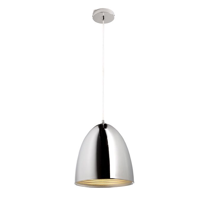 CARISSIMA 25 | rendl light studio | Rounded cone-shaped pendant with a shiny shade. The outside of the shade is in chrome while the inside is in silver-gray. #lamps #pendant #chrome