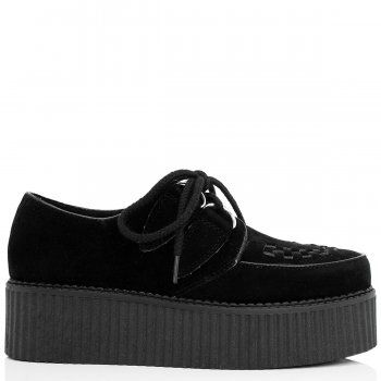 MATILDA Flat Chunky Creeper Lace Up Platform Shoes - Black Suede Style