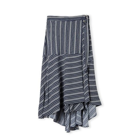 Trenery Pinstripe Flounce Skirt.