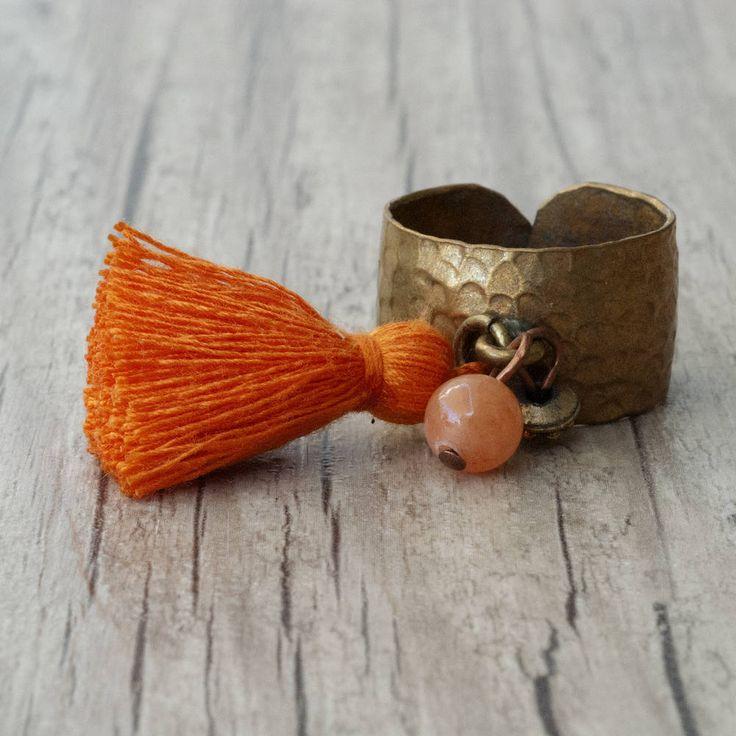 Boho Orange Tassel Dangle Charm Ring with Adjustable Hammered Brass Band