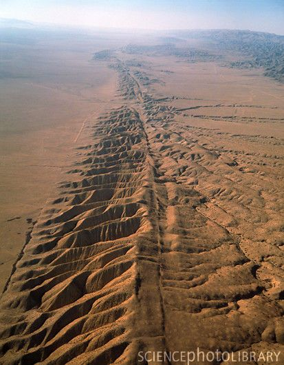 San Andreas fault, a continental transform fault that runs a length of roughly 810 miles (1,300 km) through California in the United States. The fault's motion is right-lateral strike-slip (horizontal motion). It forms the tectonic boundary between the Pacific Plate and the North American Plate.