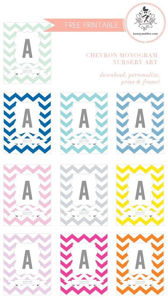 Free Printable: Chevron Monogram Art (also cute for playground- customize colors, 2 fonts available) great for bottle cap jewelry, glass tile jewelry & fridge magnets too! #ecrafty