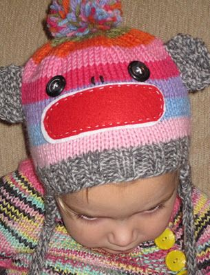 Knitted Sock Monkey Hat - Free Pattern: Canadian Socks, Sock Monkey Hat, Sock Monkeys, Free Pattern, Knits Crochet Patterns, Socks Monkey Hats, Vintage Umbrellas, Knits Projects, Knits Socks