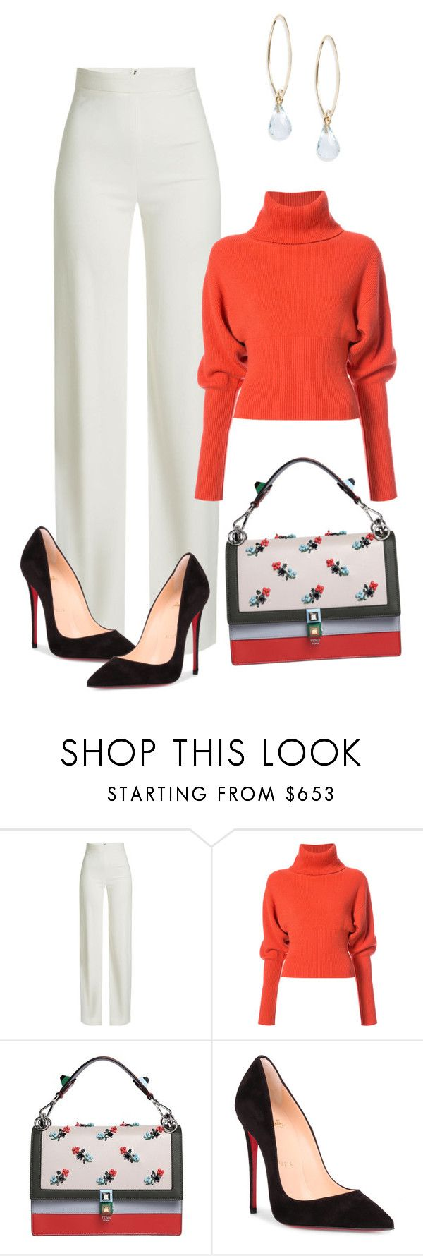 Untitled #815 by greenviolet ❤ liked on Polyvore featuring Brandon Maxwell, Creatures of the Wind, Fendi, Christian Louboutin and Saks Fifth Avenue