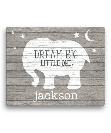 Look at this #zulilyfind! Gray Elephant 'Dream Big Little One' Personalized Canvas #zulilyfinds
