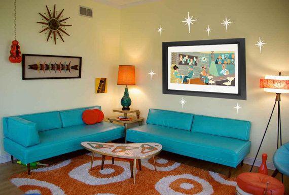 Mid Century Decals Modern Vinyl Fabric, Retro Living Room Furniture