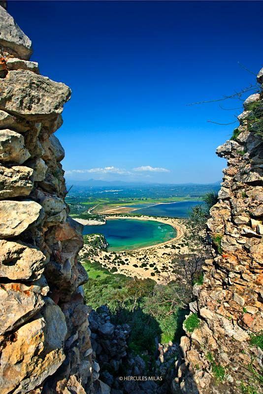 """View to Voidokoilia beach from Palaiokastro (means """"Old Castle"""", also known as """"Palionavarino""""), Pylos (Navarino), Messenia, Peloponnese, #Greece"""