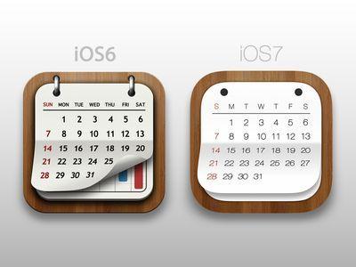 iOS6 vs iOS7 Calender   App Icons