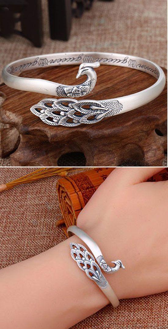 Unique Design Silver Peacock Adjustable National Handmade Animal Bracelet for bi… – Bracelets